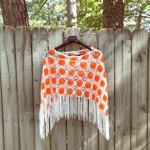 1970s hand-woven hippie poncho with fringe